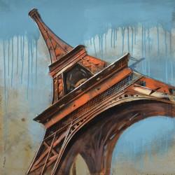 Kovový obraz 80x80 Pomarančová Eiffelovka