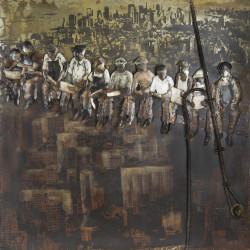 Kovový obraz 100x100 Železný Muži Manhattanu