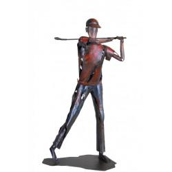 Kovová socha 89x49x33 Červený golfista