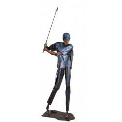 Kovová socha 83x46x28 Modrý golfista