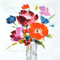 Maľovaný originál 60x60 Kvetiny vo váze 3