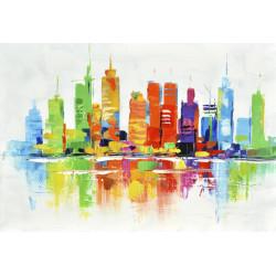 Maľovaný originál 100x70 Dúhové mrakodrapy