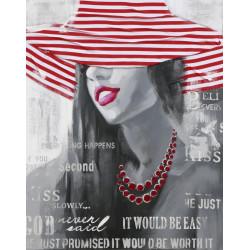 Maľovaný orignál 80x100 Žena v červenom klobúku