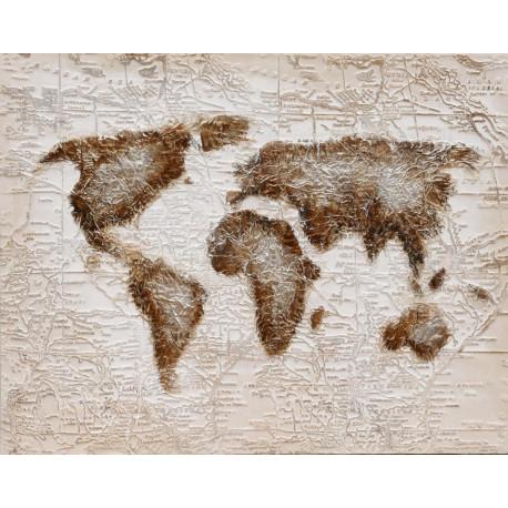 Maľovaný orignál 80x100 Mapa sveta