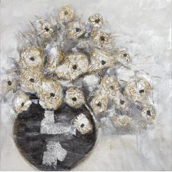 Maľovaný Originál 100x100 Strieborná kytica