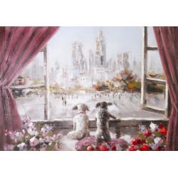 Maľovaný originál 100x70 Okno do sveta