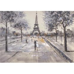 Maľovaný originál 100x70 Prechádzky Francúzkom