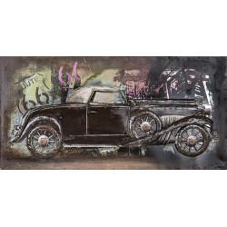 Kovový obraz 80x40 Vintage car