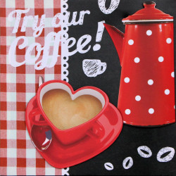 Obraz na plátne 40x40 3D Káva v srdci