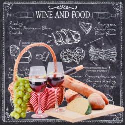 Obraz na plátne 40x40 Víno a jedlo I.