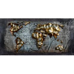 Kovový obraz 80x40 Mapa sveta